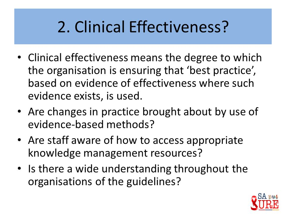 2. Clinical Effectiveness