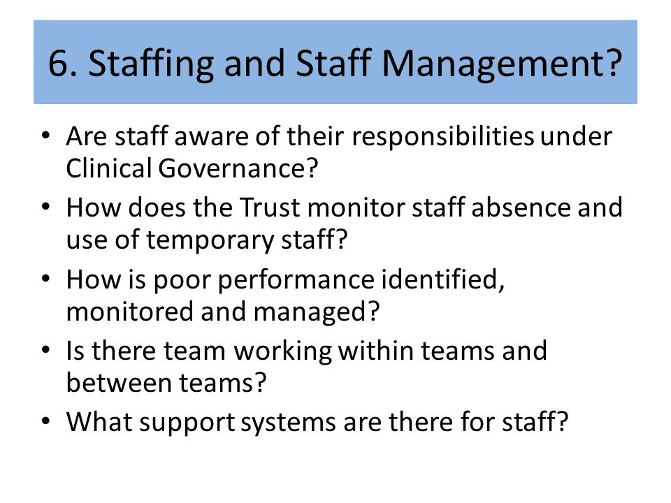 6. Staffing and Staff Management