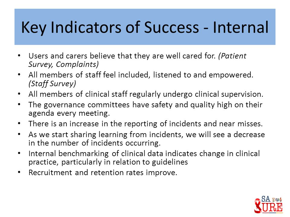 Key Indicators of Success - Internal
