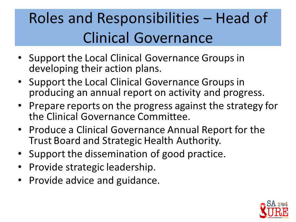 Roles and Responsibilities – Head of Clinical Governance