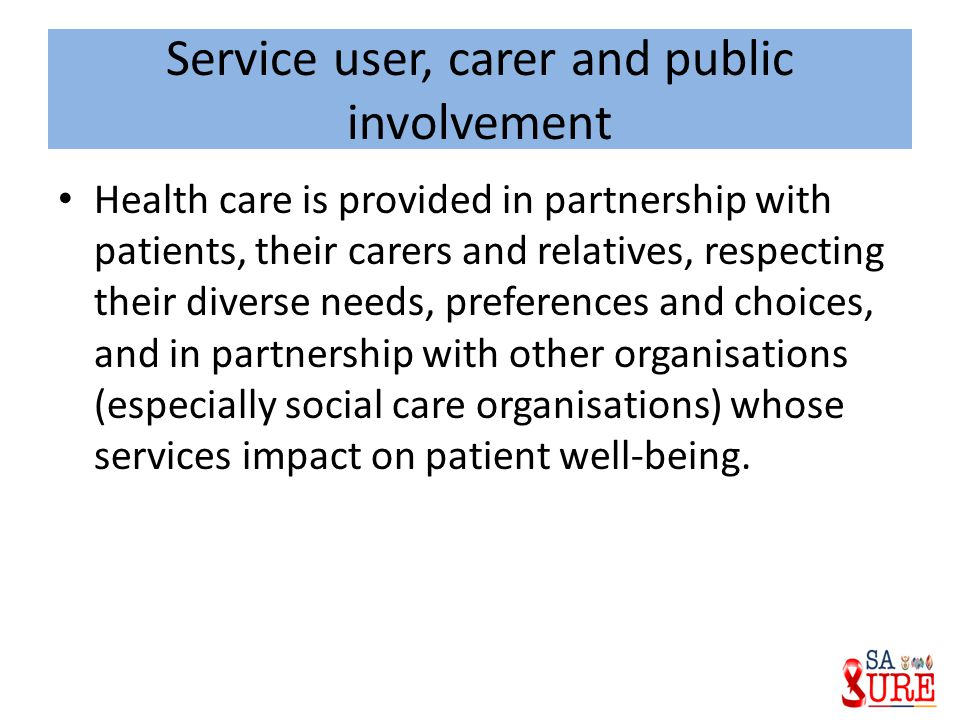 Service user, carer and public involvement