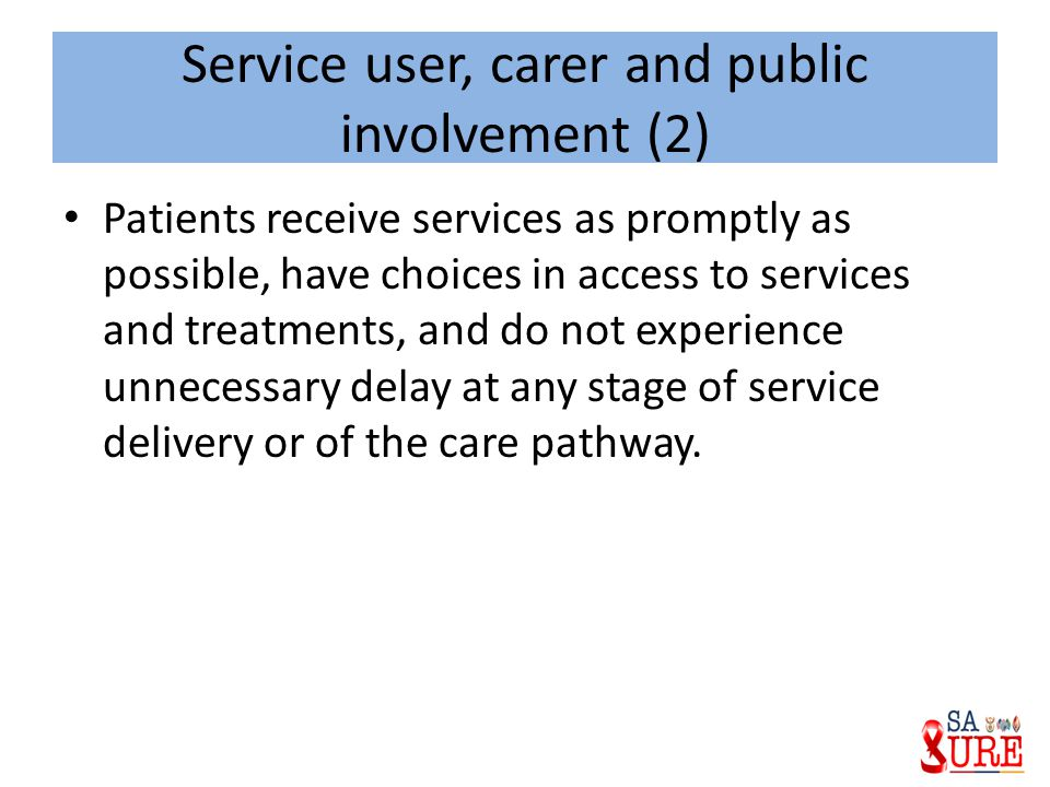 Service user, carer and public involvement (2)