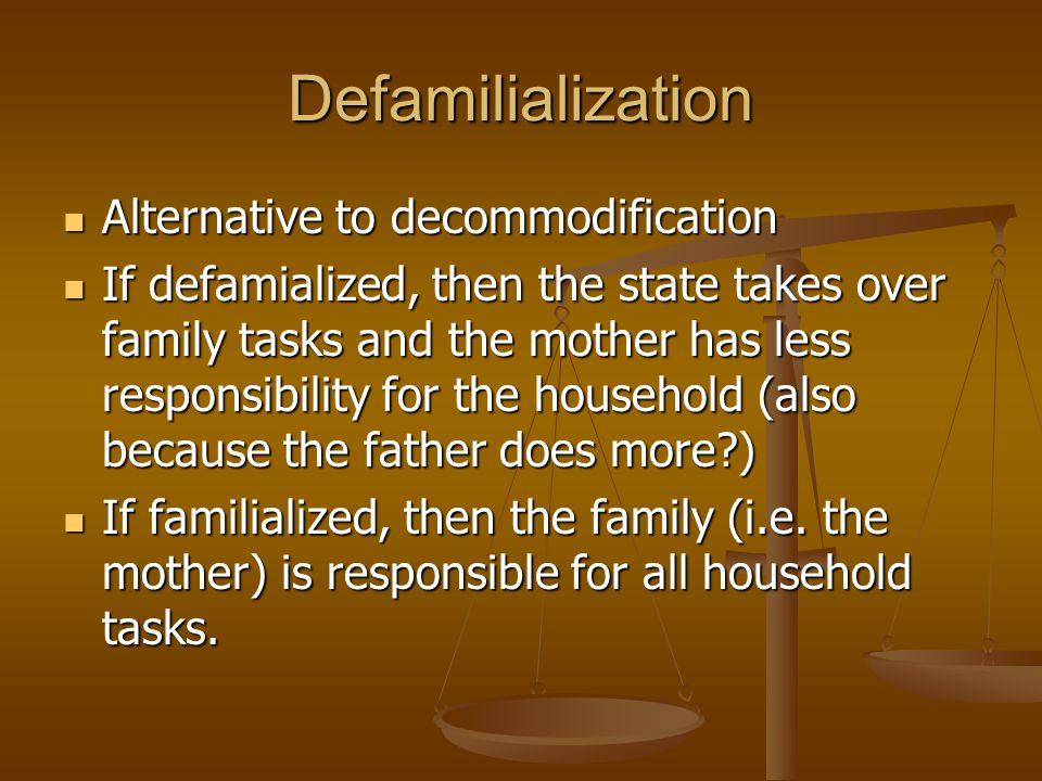 Defamilialization Alternative to decommodification