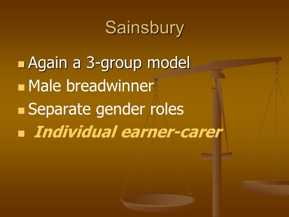 Sainsbury Again a 3-group model Male breadwinner Separate gender roles