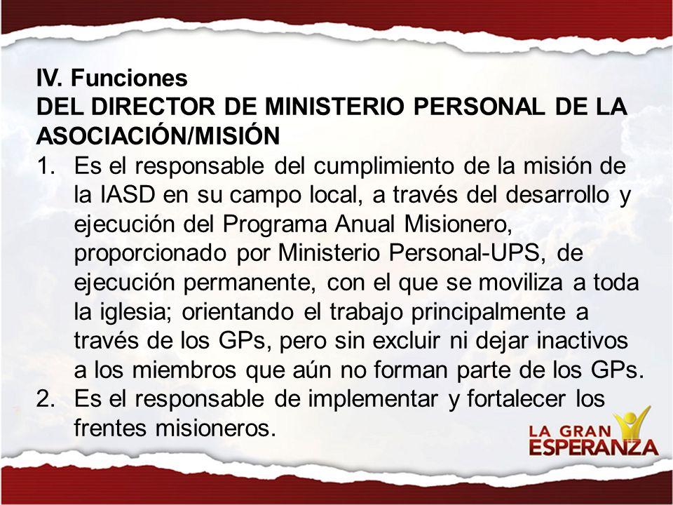 IV. Funciones DEL DIRECTOR DE MINISTERIO PERSONAL DE LA ASOCIACIÓN/MISIÓN.