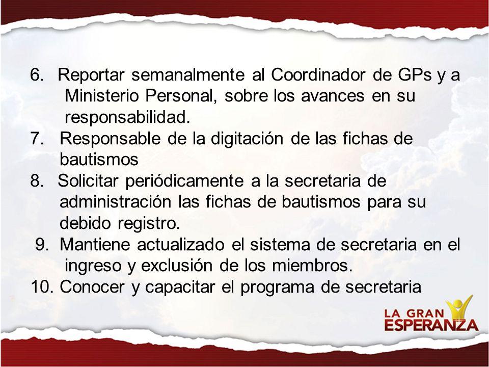 Reportar semanalmente al Coordinador de GPs y a