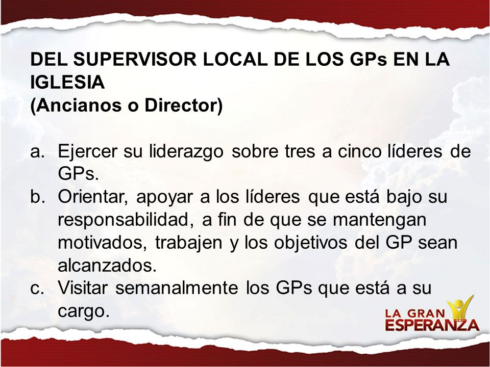 DEL SUPERVISOR LOCAL DE LOS GPs EN LA IGLESIA