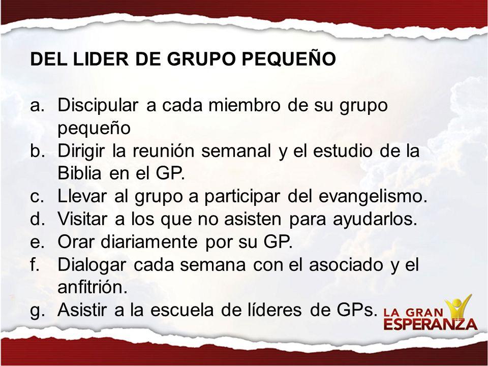 DEL LIDER DE GRUPO PEQUEÑO