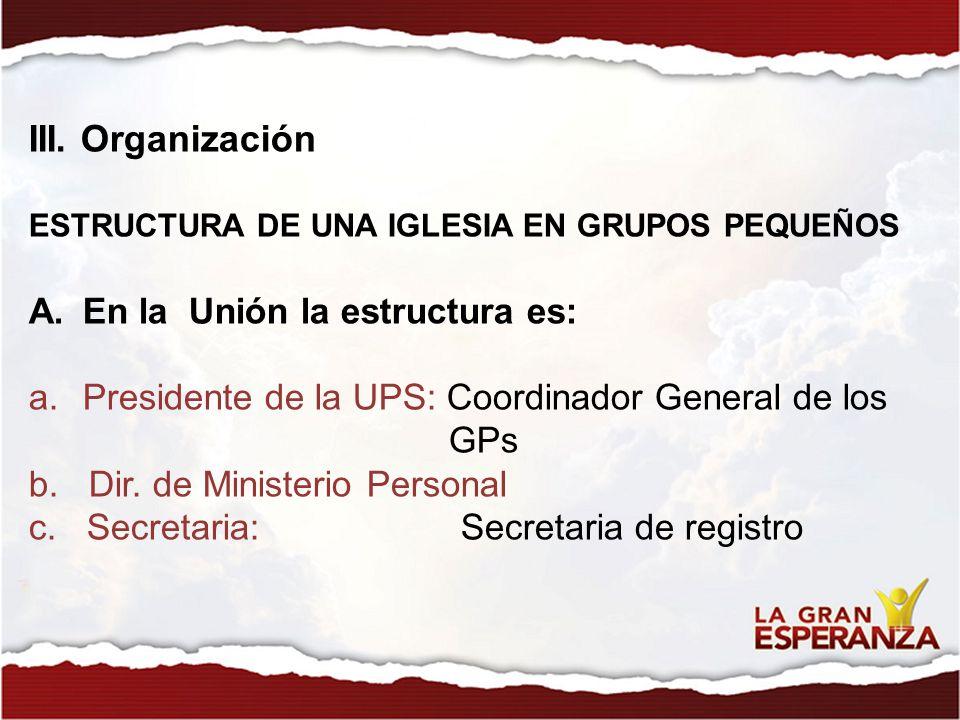 III. Organización En la Unión la estructura es: