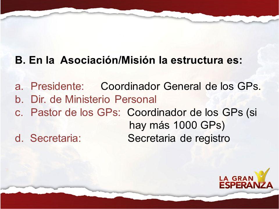 B. En la Asociación/Misión la estructura es: