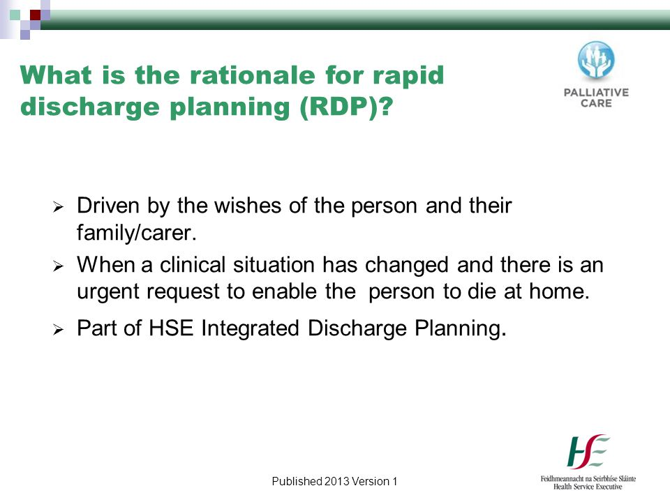 What is the rationale for rapid discharge planning (RDP)