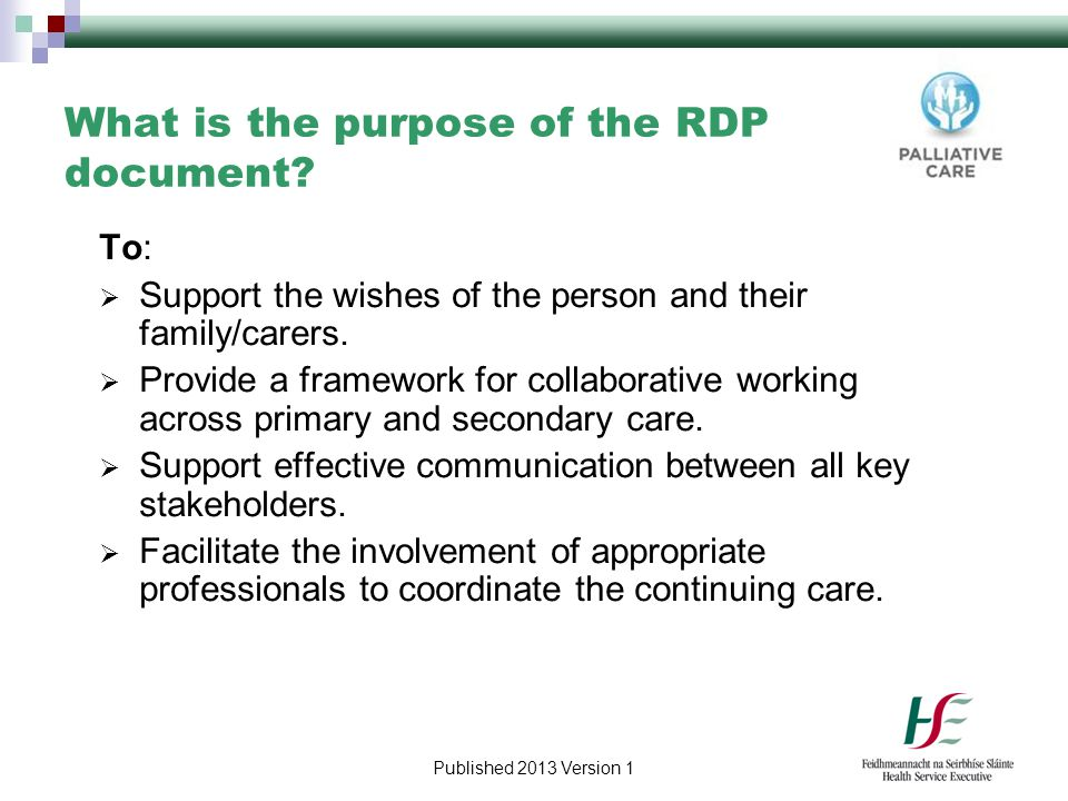 What is the purpose of the RDP document
