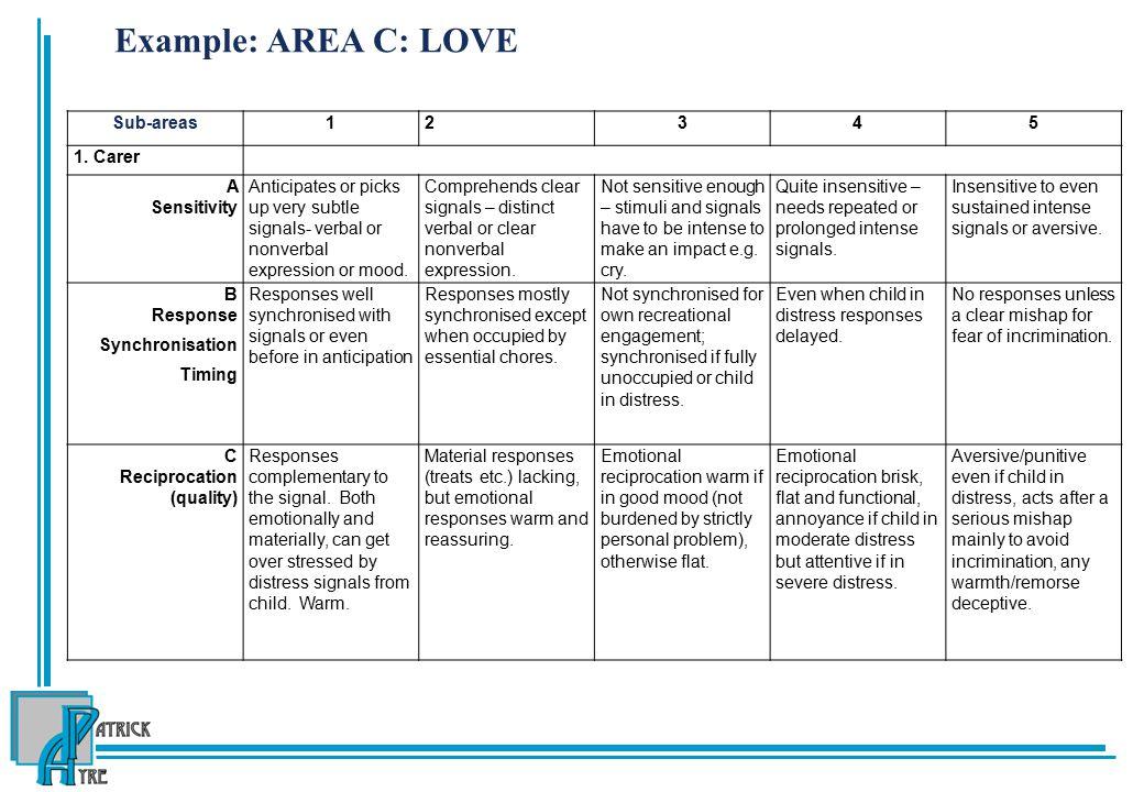 Example: AREA C: LOVE Sub-areas 1 2 3 4 5 1. Carer A Sensitivity