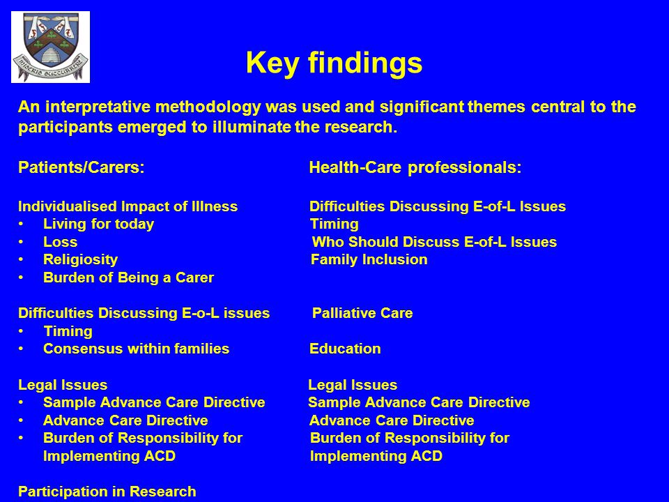 Key findings An interpretative methodology was used and significant themes central to the. participants emerged to illuminate the research.