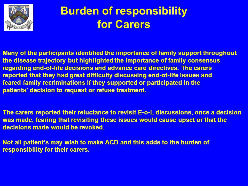 Burden of responsibility for Carers