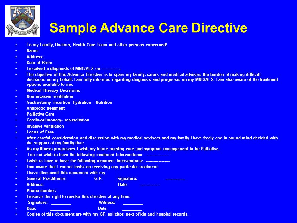 EndOfLife Decisions And Advance Care Directives In AlsMnd