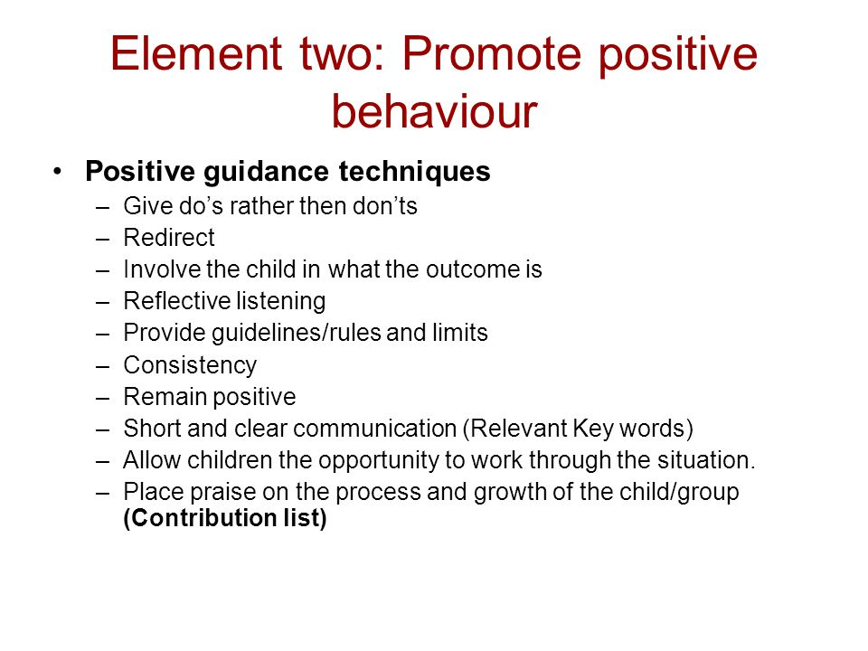 Element two: Promote positive behaviour