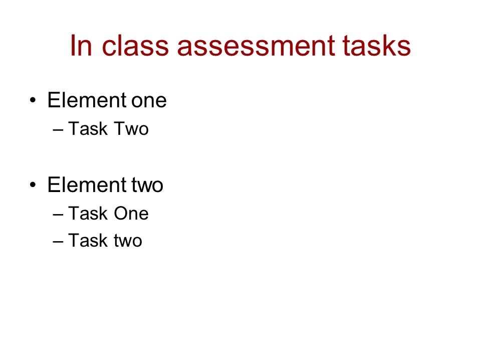In class assessment tasks