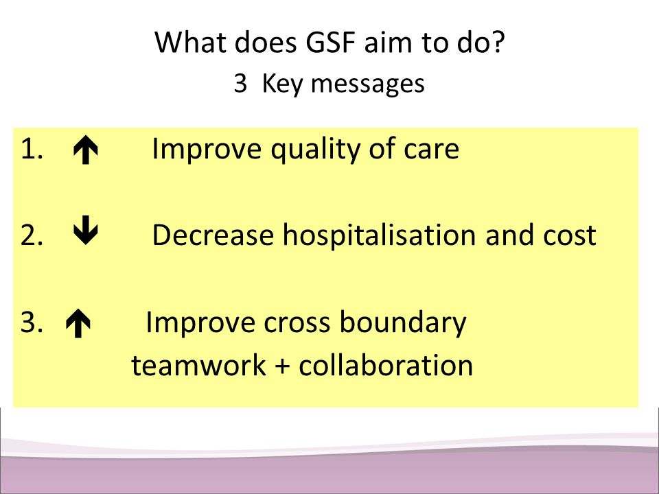 What does GSF aim to do 3 Key messages