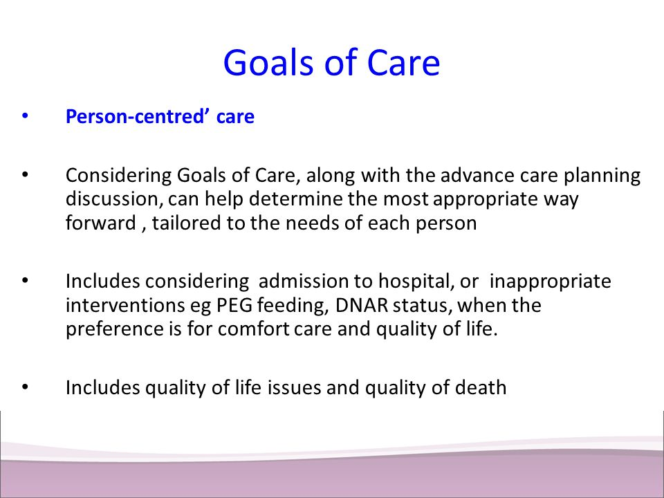 Goals of Care Person-centred' care