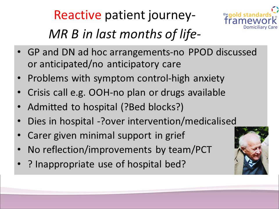 Reactive patient journey- MR B in last months of life-