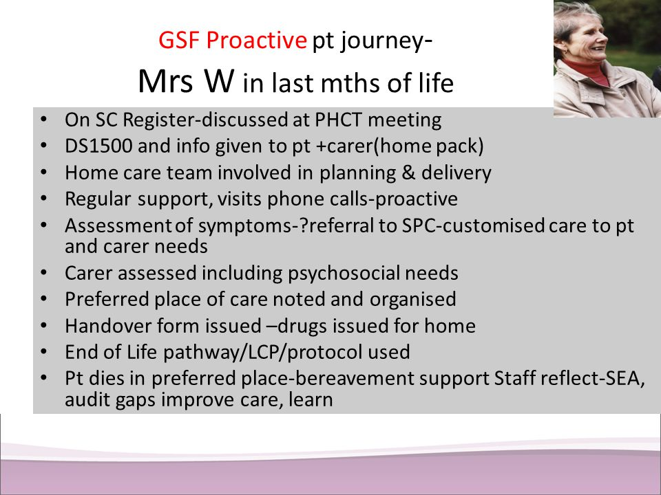 GSF Proactive pt journey- Mrs W in last mths of life