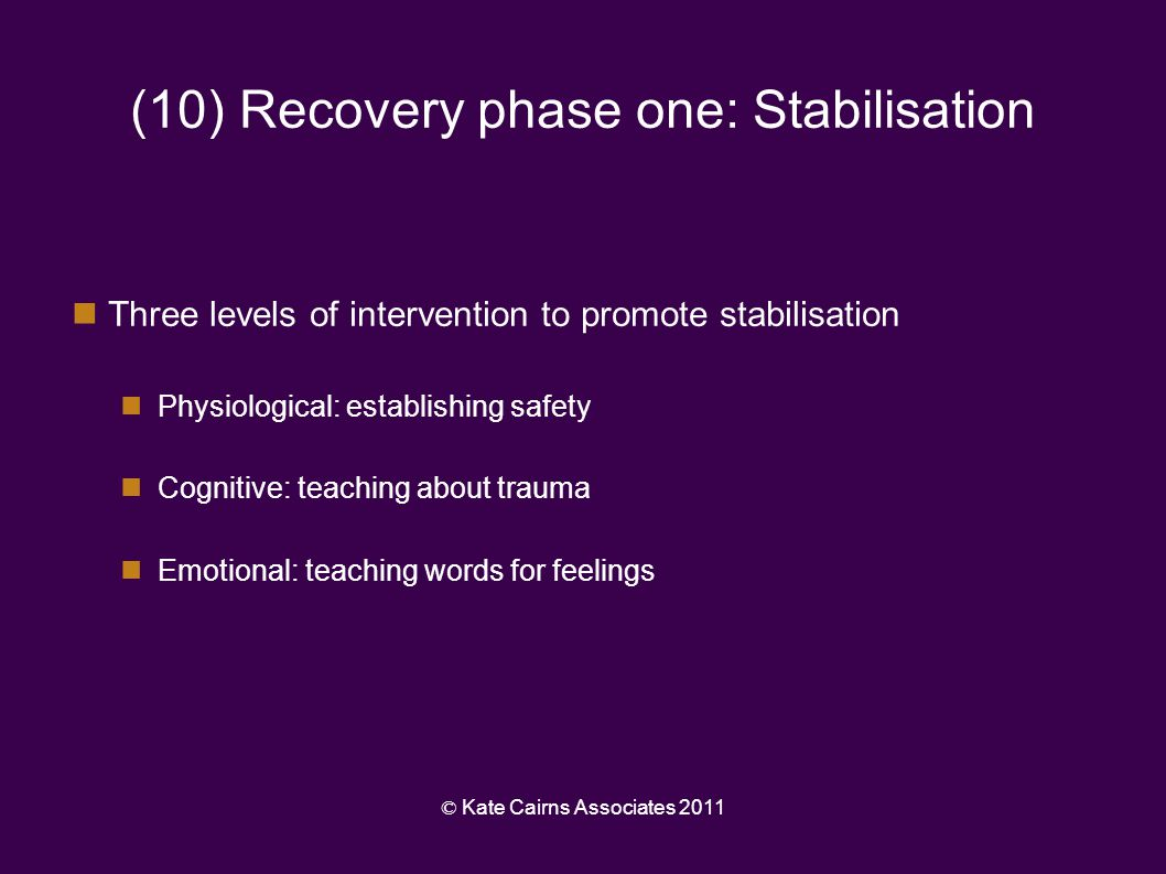 (10) Recovery phase one: Stabilisation