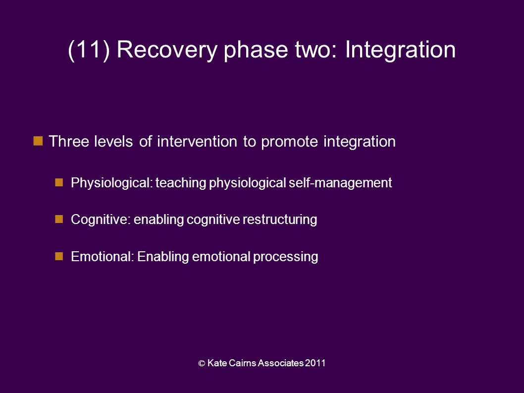 (11) Recovery phase two: Integration