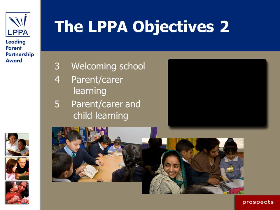 The LPPA Objectives 2 3 Welcoming school 4 Parent/carer learning