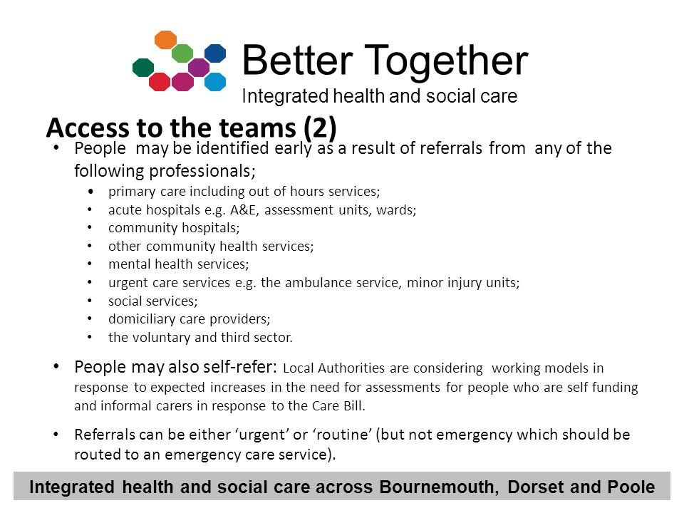 Access to the teams (2) People may be identified early as a result of referrals from any of the following professionals;