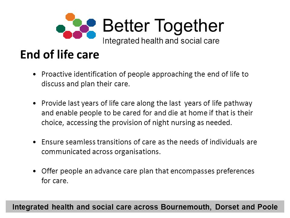 End of life care Proactive identification of people approaching the end of life to discuss and plan their care.