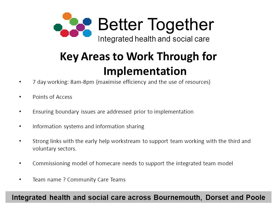 Key Areas to Work Through for Implementation
