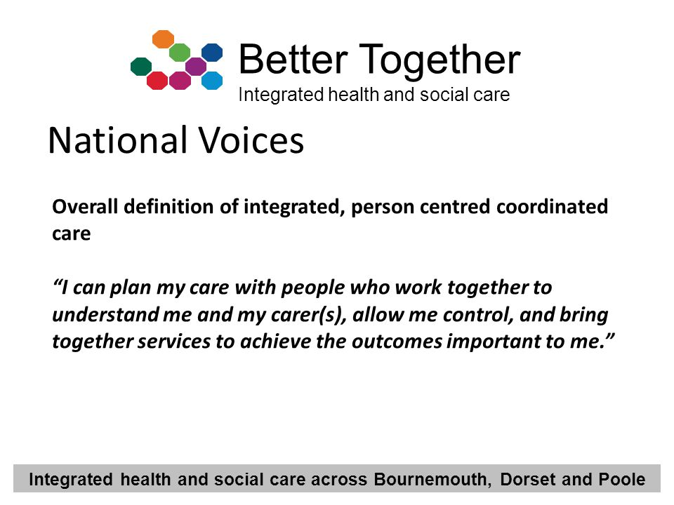 National Voices Overall definition of integrated, person centred coordinated care.