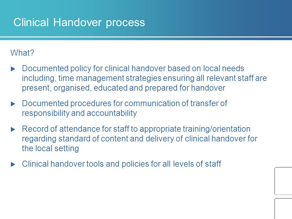 Clinical Handover process