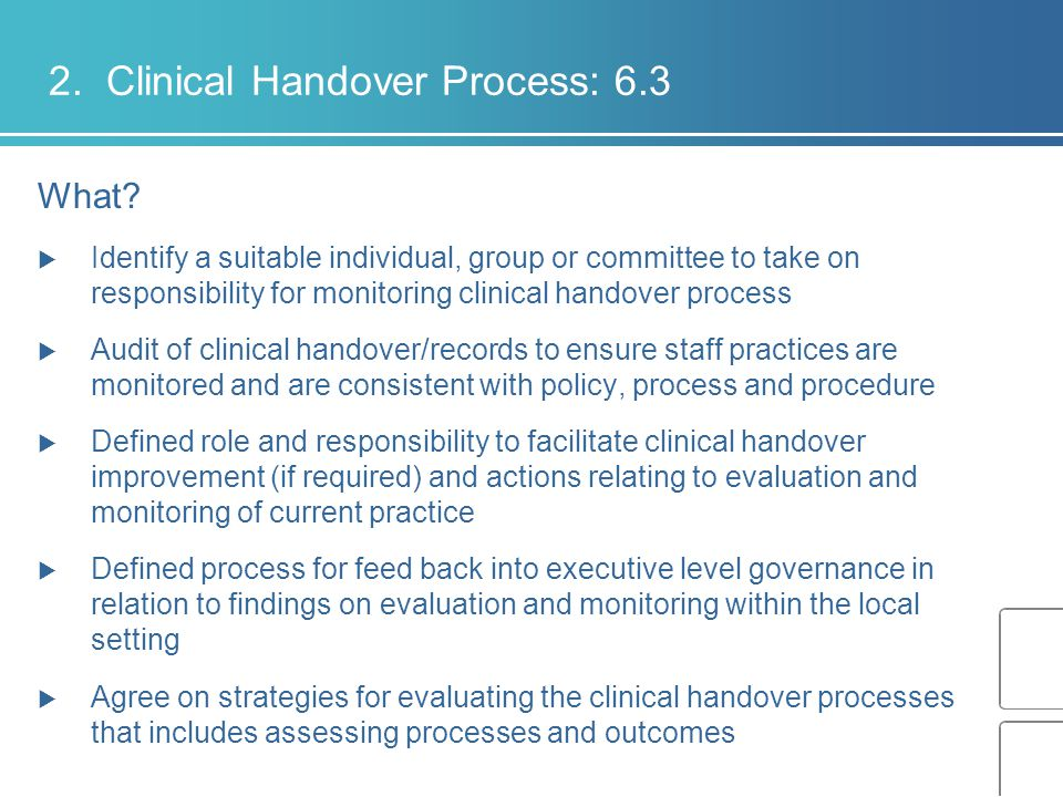 2. Clinical Handover Process: 6.3