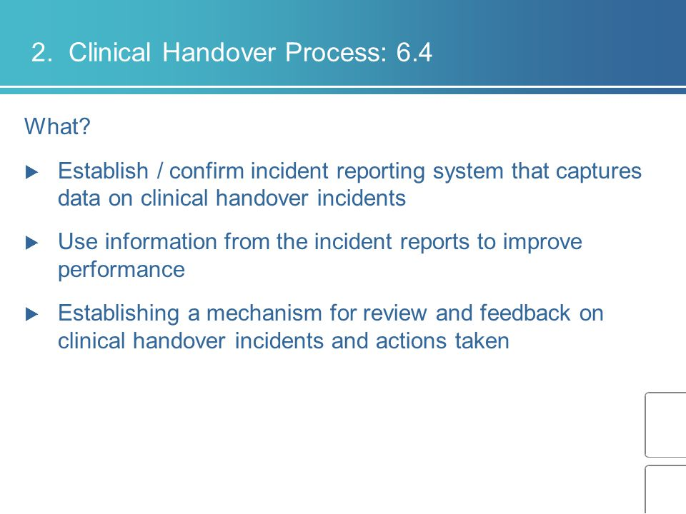 2. Clinical Handover Process: 6.4
