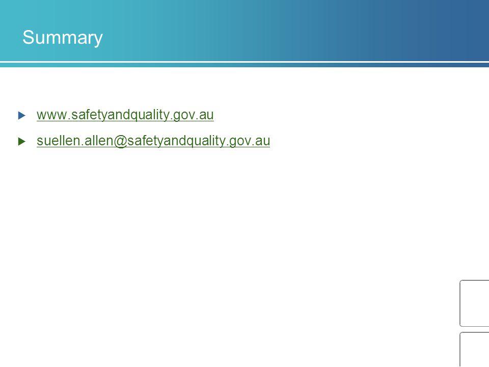 Summary www.safetyandquality.gov.au