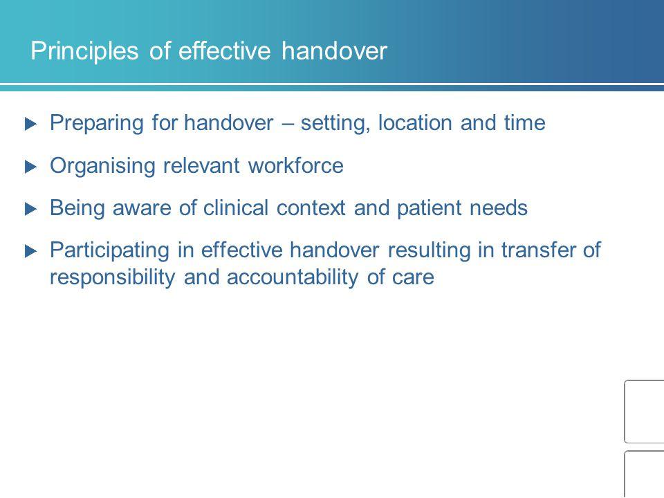 Principles of effective handover