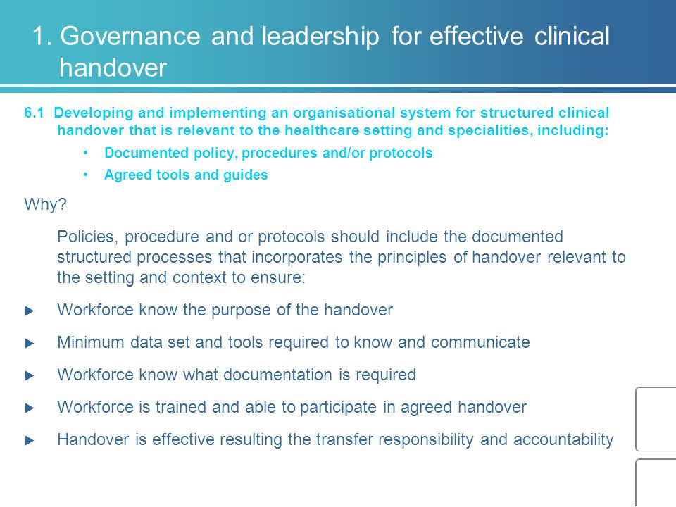 1. Governance and leadership for effective clinical handover