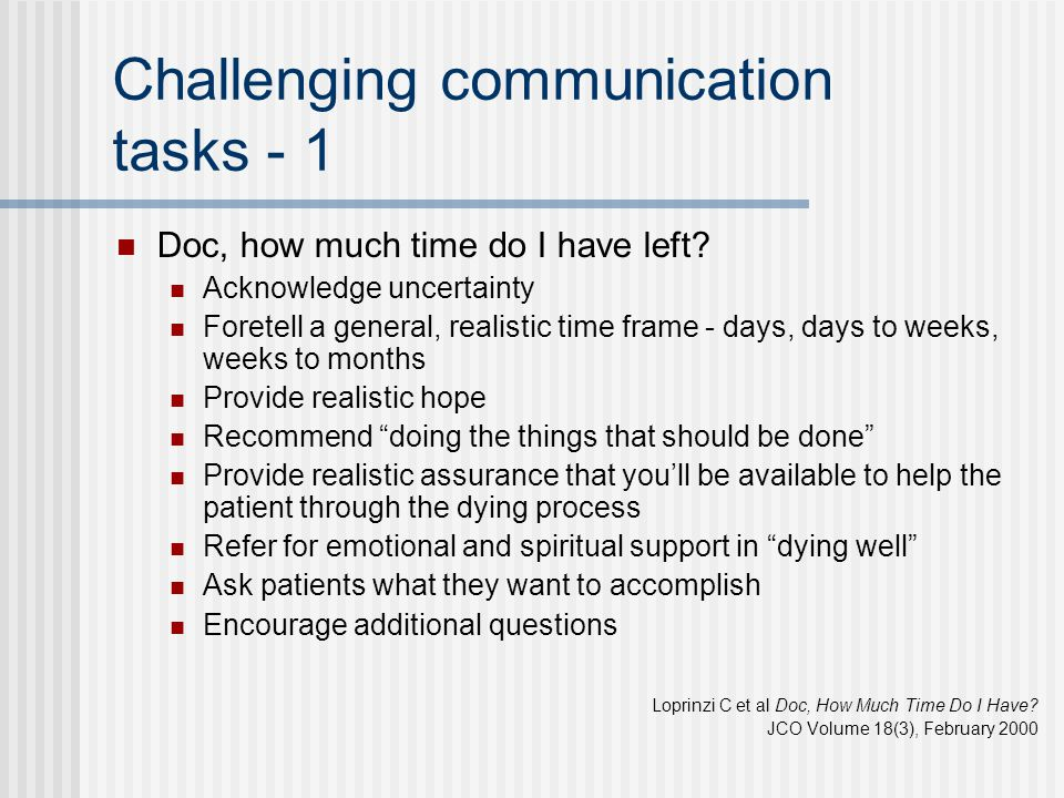 Challenging communication tasks - 1