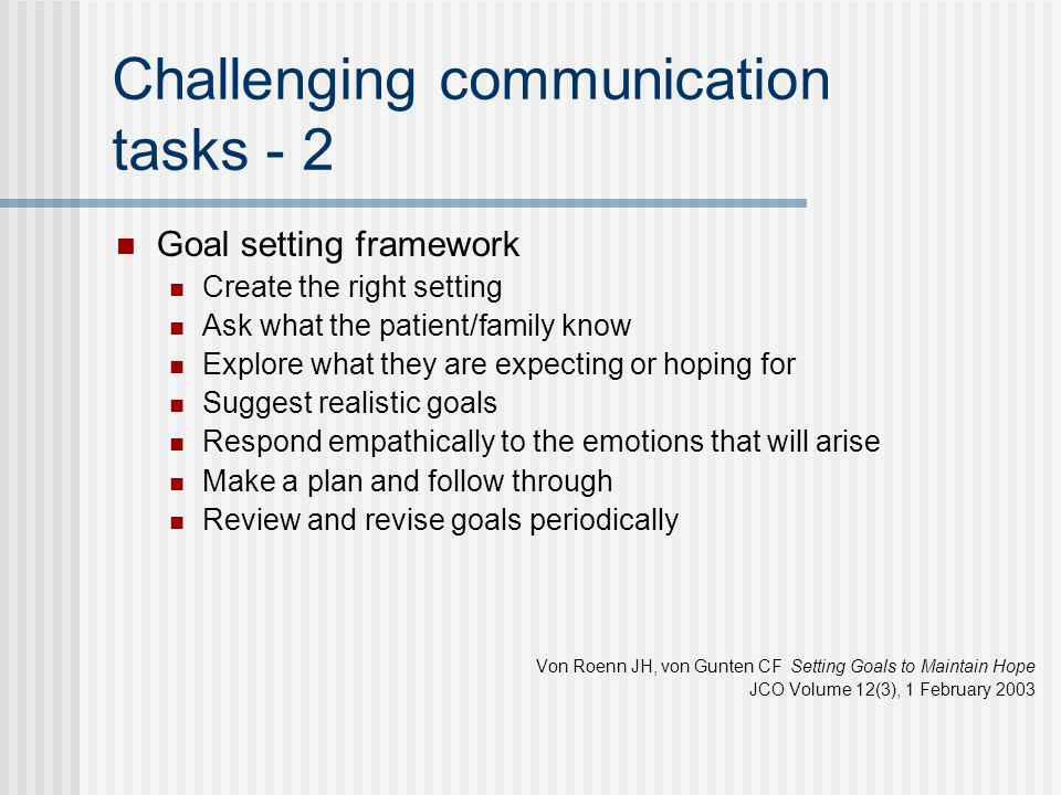 Challenging communication tasks - 2