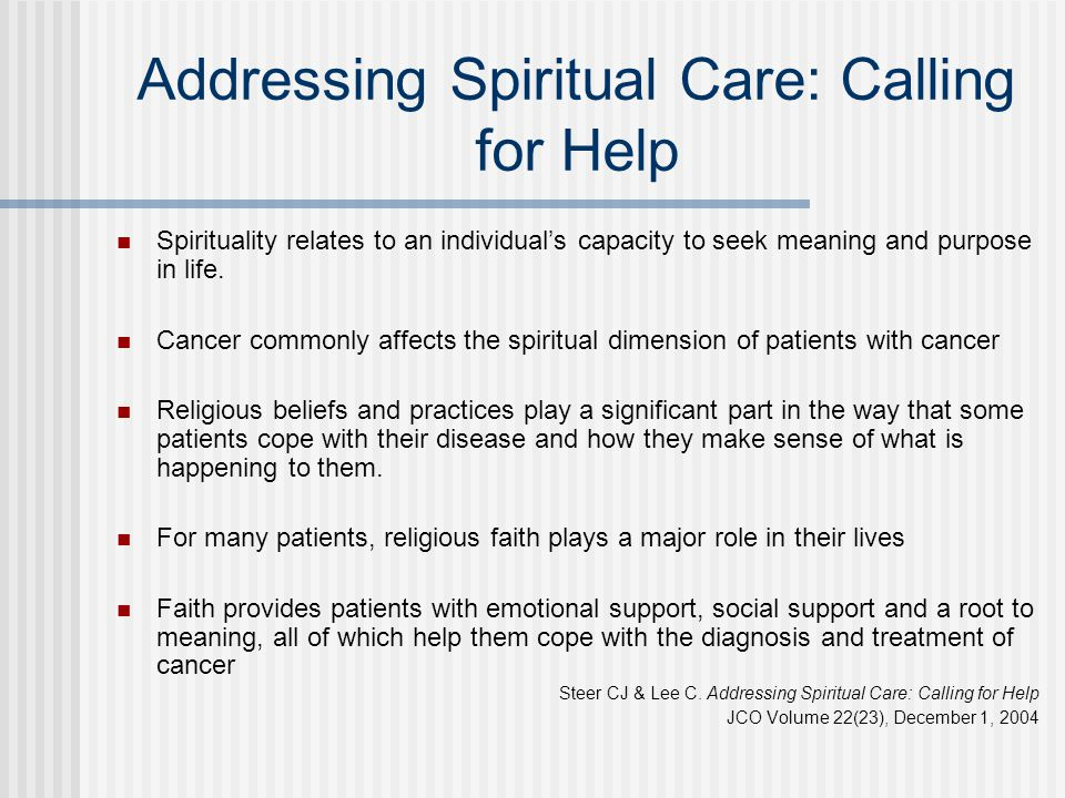 Addressing Spiritual Care: Calling for Help