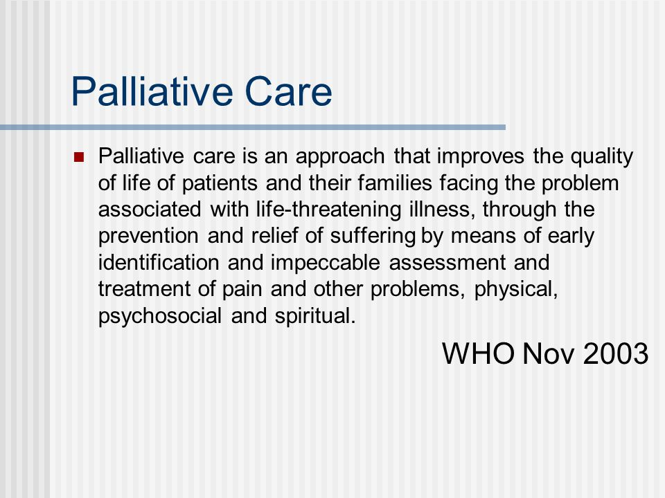 Palliative Care WHO Nov 2003