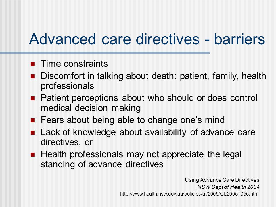 Advanced care directives - barriers