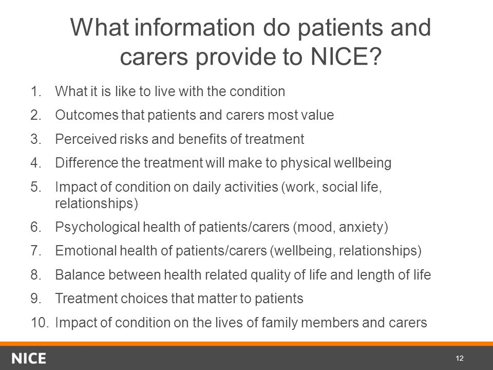 What information do patients and carers provide to NICE