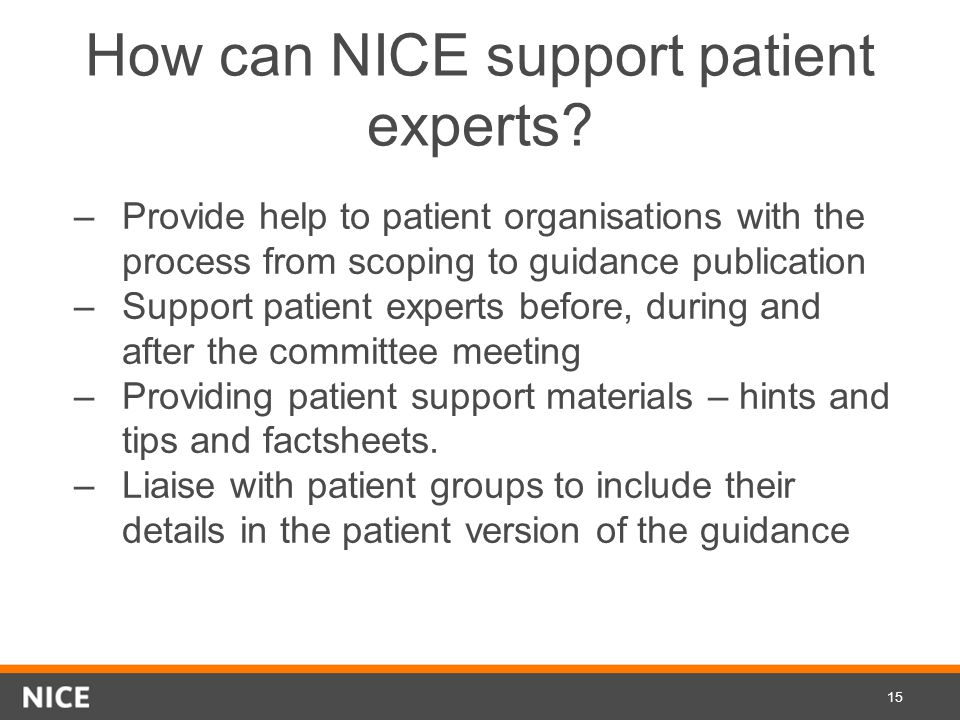 How can NICE support patient experts