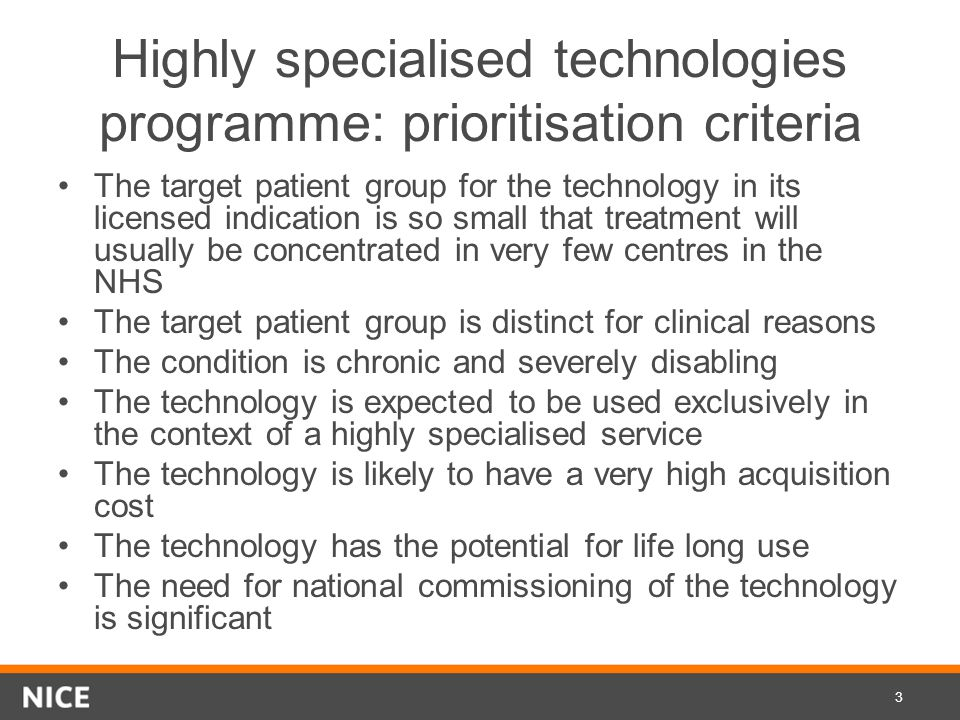 Highly specialised technologies programme: prioritisation criteria