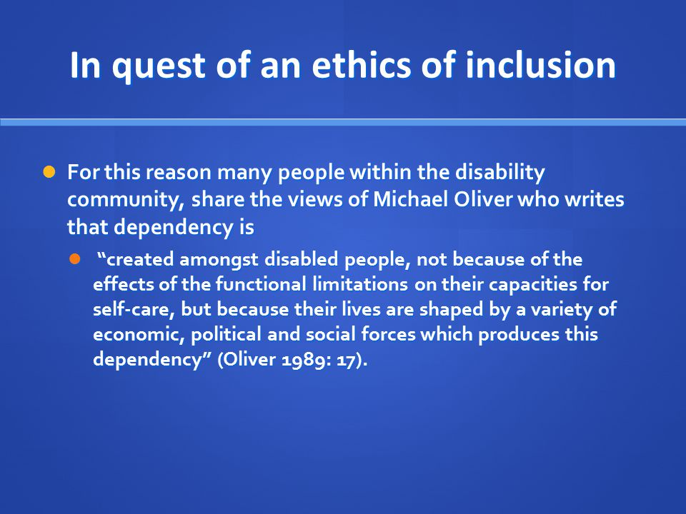 In quest of an ethics of inclusion