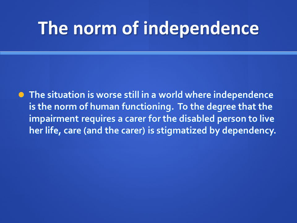 The norm of independence