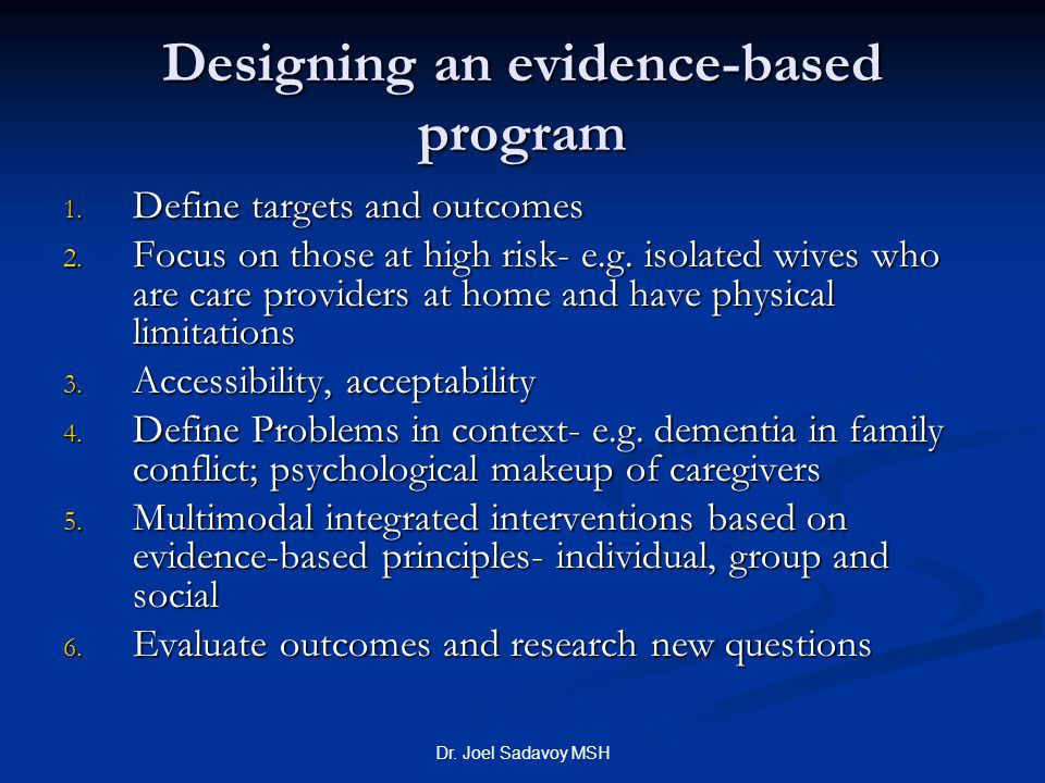 Designing an evidence-based program